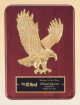 Rosewood Piano Finish Plaque with Gold Eagle Casting Cast Relief Plaques